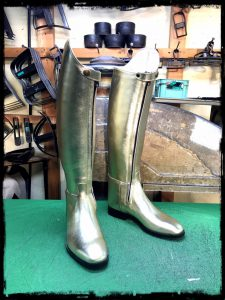 longboots-front fastener-gold